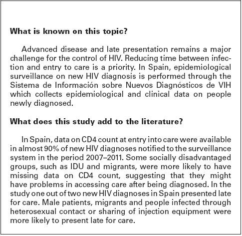 Saude Publica Predictors Of Advanced Disease And Late Presentation