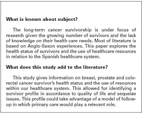 Scielo Saude Publica Health Status And Health Resource Use Among Long Term Survivors Of Breast Colorectal And Prostate Cancer Health Status And Health Resource Use Among Long Term Survivors Of Breast Colorectal