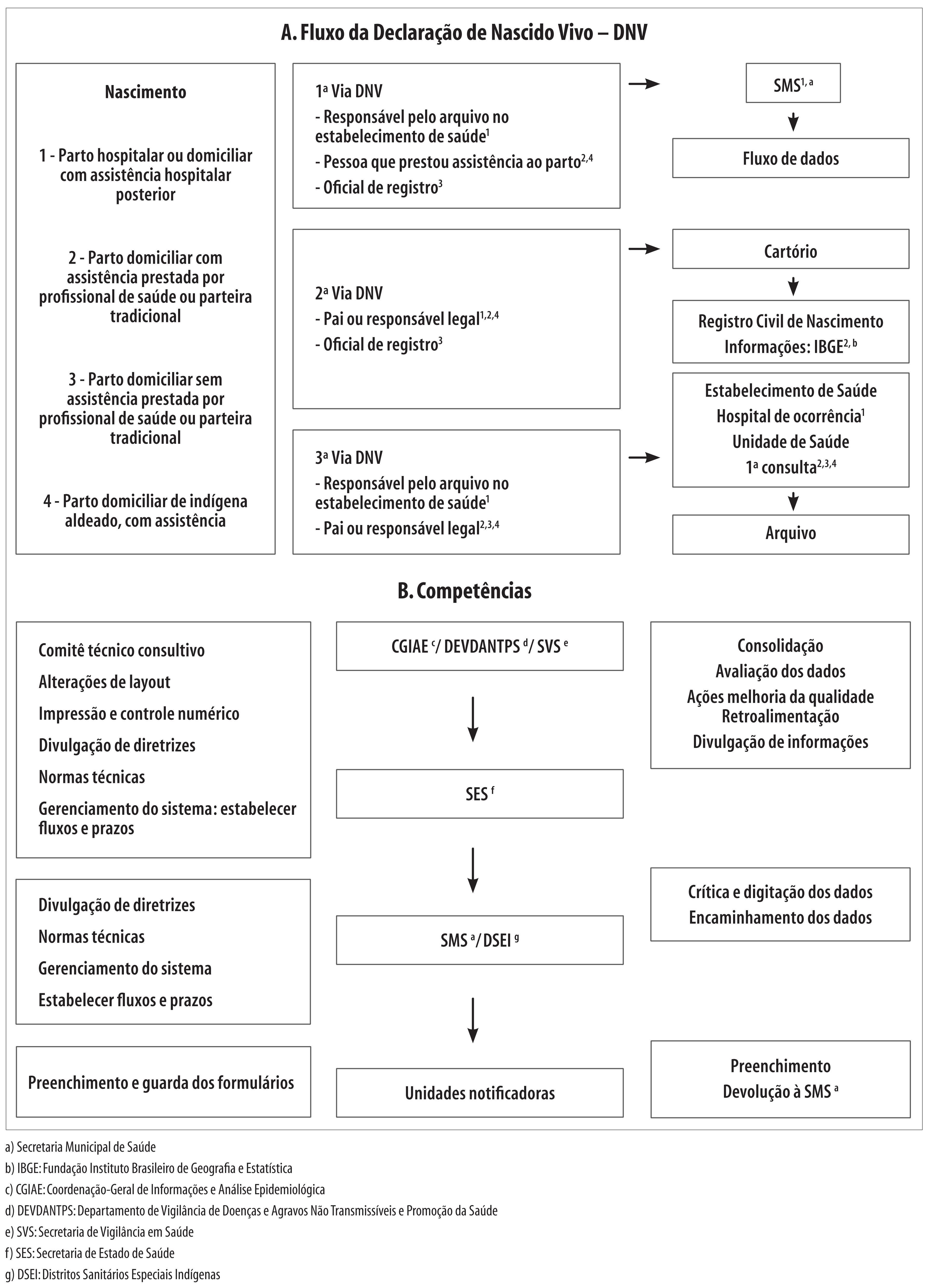 Figura 1 Descrição do fluxo da Declaração de Nascido Vivo (DNV) e  competências do Sistema de Informações sobre Nascidos Vivos (Sinasc). Brasil 40ab206cfdf03